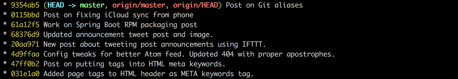Git log output with --decorate